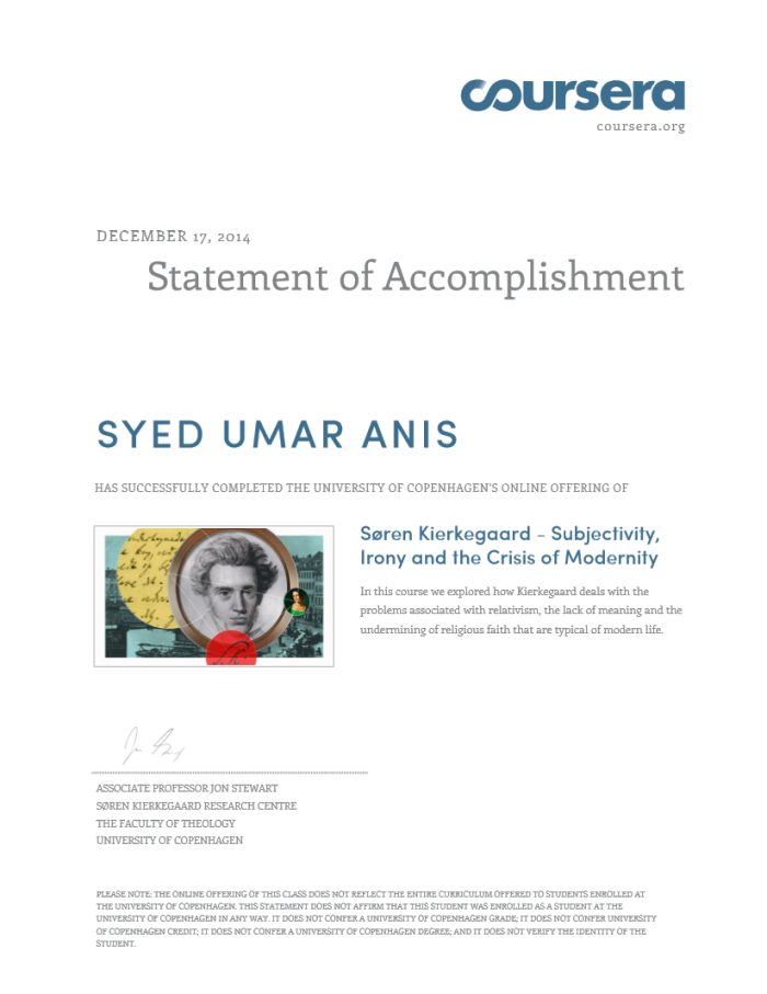 Coursera Soren Kierkegaard Certificate